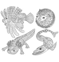 Coloring page with creepy fish with high details vector