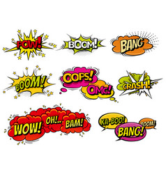 Comic book sound effect speech bubbles vector