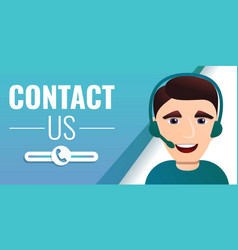 contact us concept banner cartoon style vector image