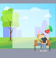 couple in love sits on bench in city park vector image
