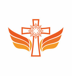 cross crown of thorns and wings vector image