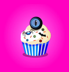 cute happy halloween cupcake with spider monster vector image