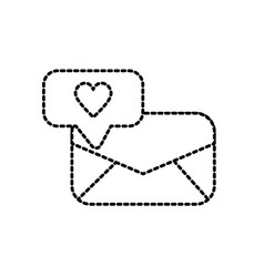 dotted shape e-mail message and chat bubble with vector image