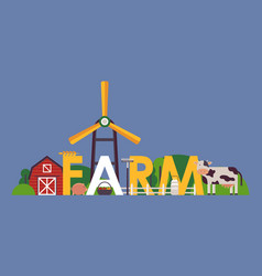 farm typography poster flat vector image