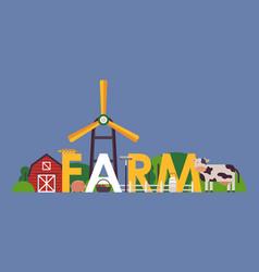 Farm typography poster flat vector