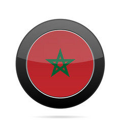 flag of morocco shiny black round button vector image