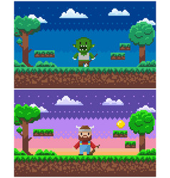 game process pixel characters and scenery set vector image