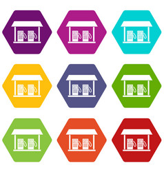 gas station icon set color hexahedron vector image