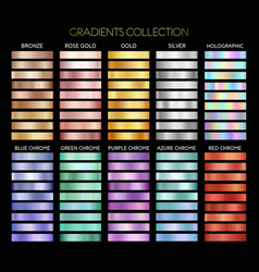Gold silver bronze metal gradient collection vector