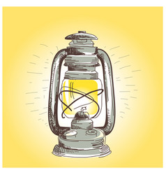 Hand draw oil lantern lamp burning vector