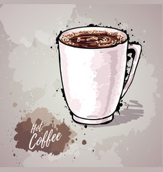 Hand drawn of cup of coffee or hot chocolate vector