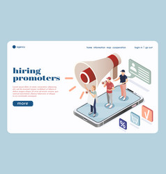 Hiring promoters isometric landing page vector