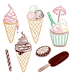 Ice cream design elements vector image