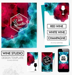 Identity design for Your Wine studio business Set vector image