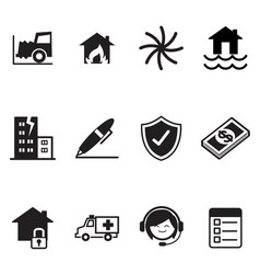 Insurance icons symbol set vector
