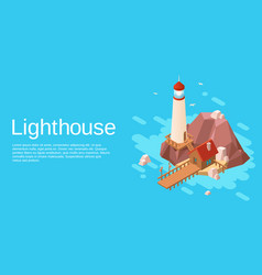 Isometric lighthouse with pier cliff island vector