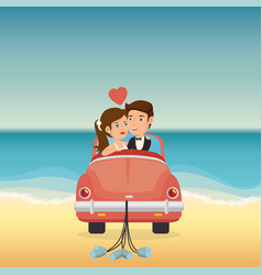 Just married couple in the beach with car vector
