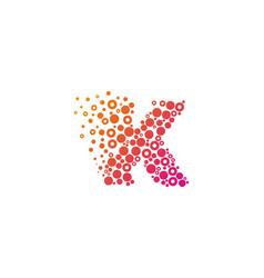 K particle letter logo icon design vector