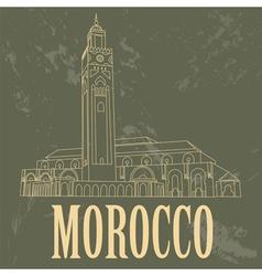Kingdom of Morocco landmarks Hassan III Mosque in vector image