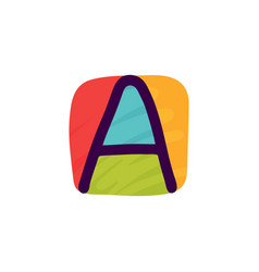 Letter a logo in kids paper applique style vector