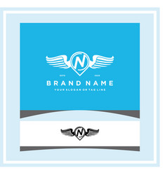 Letter n pin map wing logo design concept vector