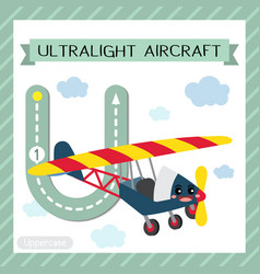 Letter u uppercase tracing ultralight aircraft vector