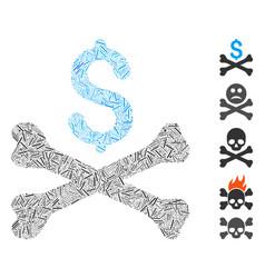 Line collage mortal debt icon vector