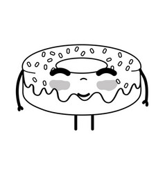 Line kawaii cute happy donut sweet vector