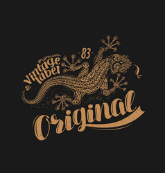 lizard t-shirt design drawn animal vintage vector image