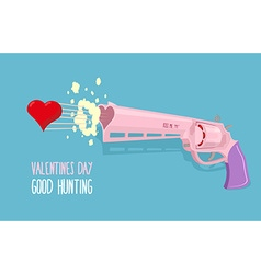 Love gun Valentines day Gun shoots at heart Good vector