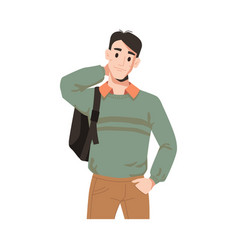 Man in sweater with backpack isolated male student vector