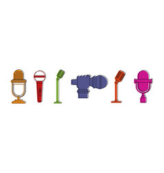 microphone icon set color outline style vector image