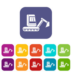 Mini excavator icons set flat vector