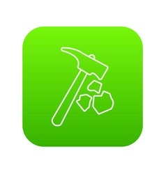 Minning hand hammer icon green vector