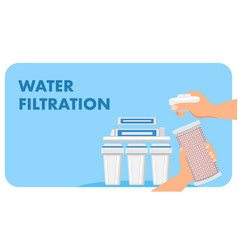 Modern water filter advertising web banner vector