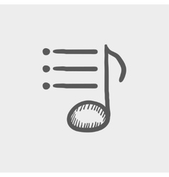 Musical note with bar sketch icon vector image