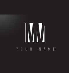 Mv letter logo with black and white negative vector