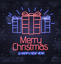 neon sign merry christmas and happy new year vector image
