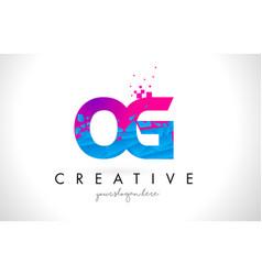 Og o g letter logo with shattered broken blue vector