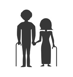 pictogram couple elderly cane vector image