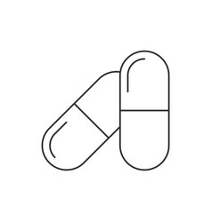 pills in capsules line icon on white background vector image