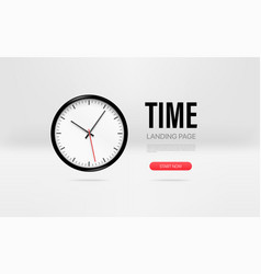promo landing page template with clock mockup vector image