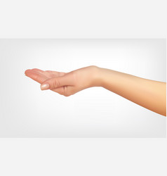 realistic 3d silhouette of hand asking with the vector image