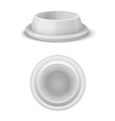 realistic white pet bowl set vector image