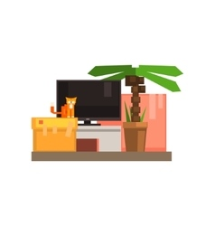 Room Interior With TV And Cat vector