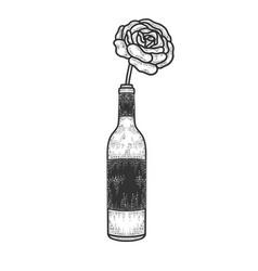 Rose in bottle wine sketch vector