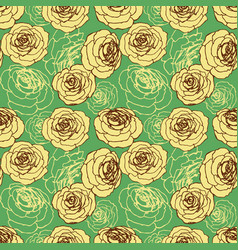 roses floral seamless pattern over green vector image