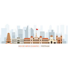 Saigon or ho chi minh city vietnam landmarks vector