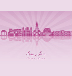 san jose skyline in purple radiant orchid vector image