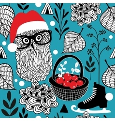 Seamless background with Christmas owls and red vector image